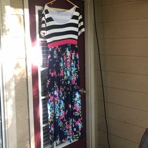 Hazel blues floral striped dress